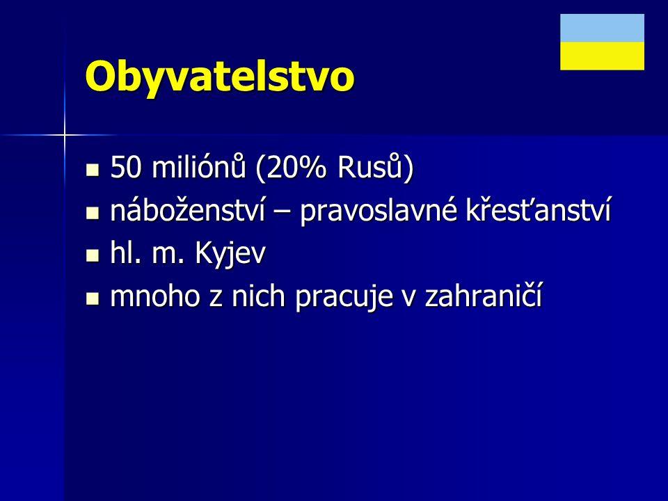 Obyvatelstvo 50 miliónů (20% Rusů) 50 miliónů (20% Rusů) náboženství – pravoslavné křesťanství náboženství – pravoslavné křesťanství hl. m. Kyjev hl.
