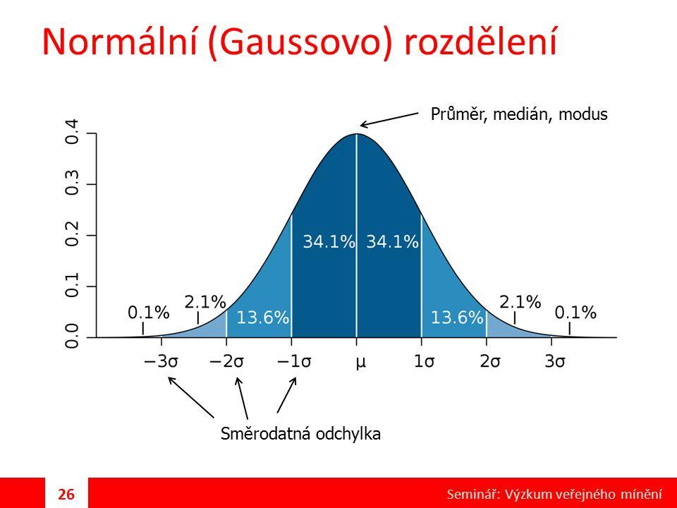 Normální (Gaussovo) rozdělení Průměr, medián, modus Směrodatná odchylka 26 Seminář: Výzkum veřejného mínění