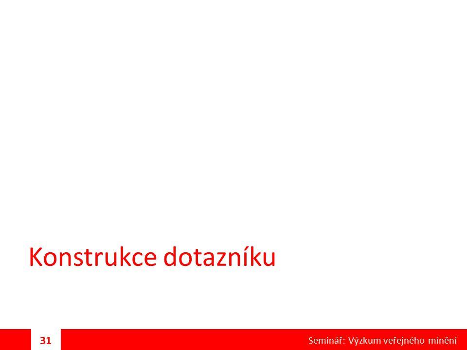 Konstrukce dotazníku 31 Seminář: Výzkum veřejného mínění