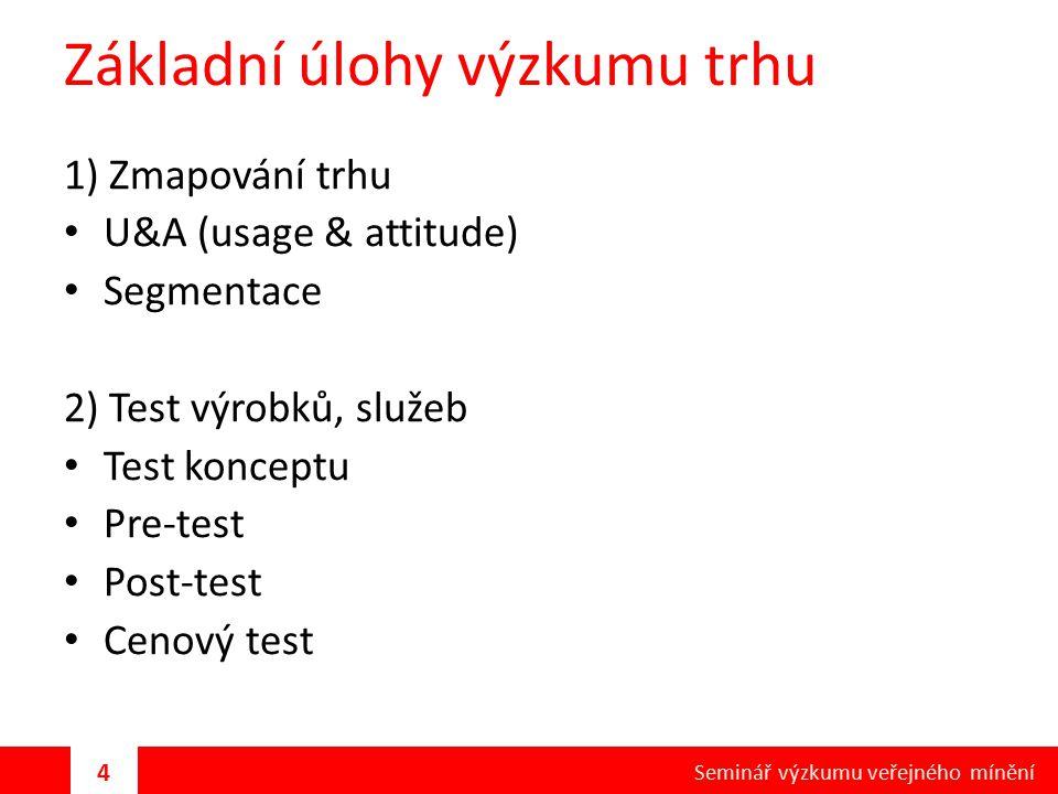 Základní úlohy výzkumu trhu 1) Zmapování trhu U&A (usage & attitude) Segmentace 2) Test výrobků, služeb Test konceptu Pre-test Post-test Cenový test 4