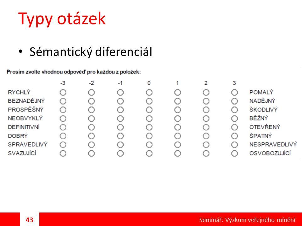 Typy otázek Sémantický diferenciál 43 Seminář: Výzkum veřejného mínění