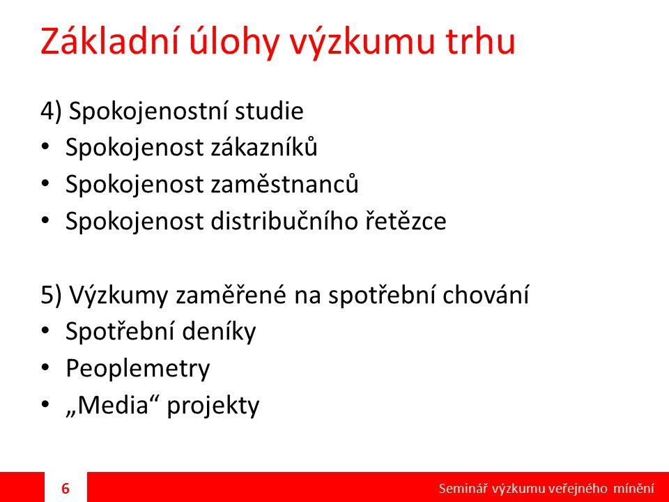 Základní úlohy výzkumu trhu 4) Spokojenostní studie Spokojenost zákazníků Spokojenost zaměstnanců Spokojenost distribučního řetězce 5) Výzkumy zaměřen