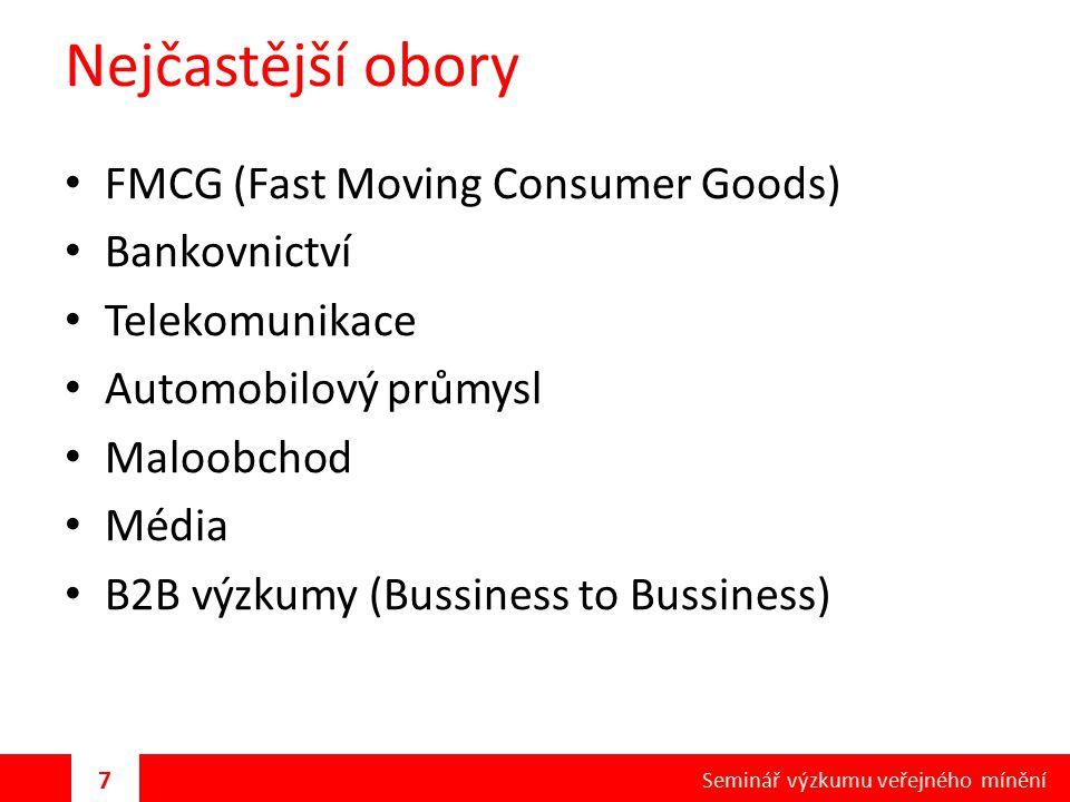 Nejčastější obory FMCG (Fast Moving Consumer Goods) Bankovnictví Telekomunikace Automobilový průmysl Maloobchod Média B2B výzkumy (Bussiness to Bussin