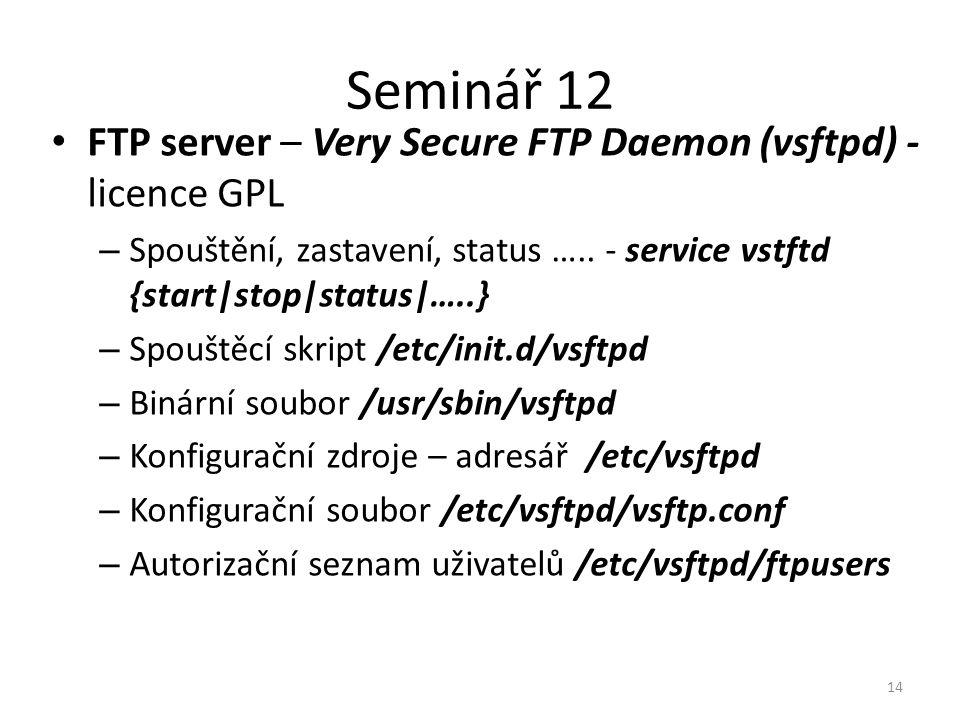 Seminář 12 FTP server – Very Secure FTP Daemon (vsftpd) - licence GPL – Spouštění, zastavení, status ….. - service vstftd {start|stop|status|…..} – Sp
