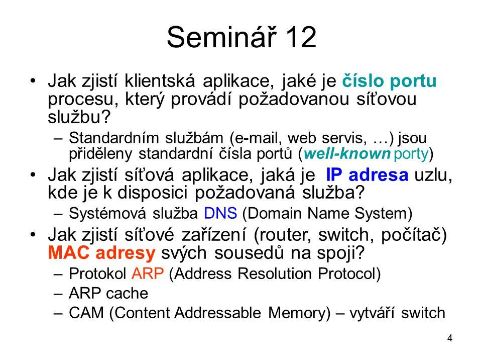 4 Seminář 12 Jak zjistí klientská aplikace, jaké je číslo portu procesu, který provádí požadovanou síťovou službu? –Standardním službám (e-mail, web s