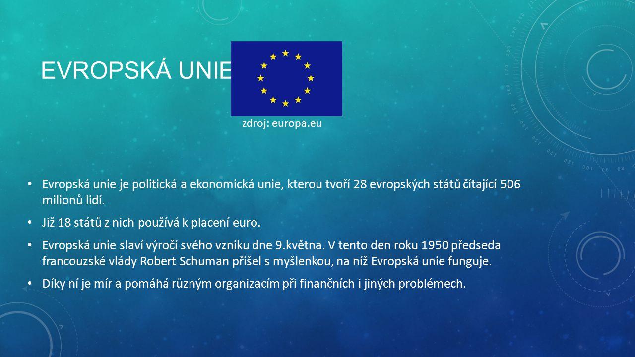 EVROPSKÁ UNIE Evropská unie je politická a ekonomická unie, kterou tvoří 28 evropských států čítající 506 milionů lidí.