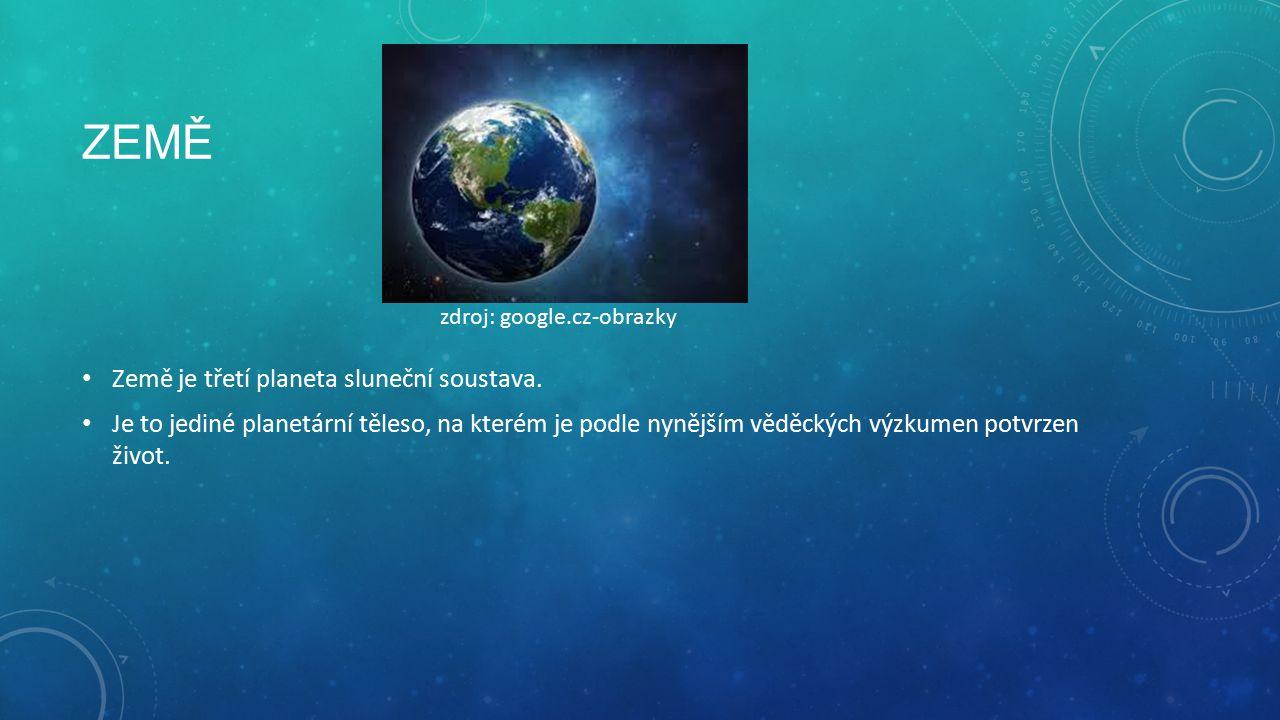 ZEMĚ Země je třetí planeta sluneční soustava.