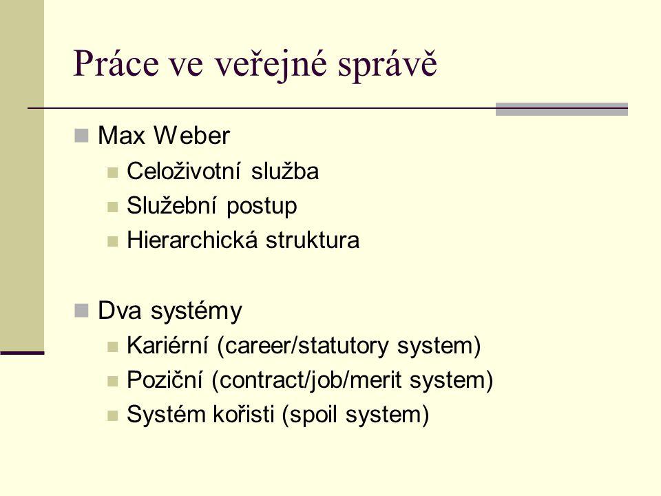 Práce ve veřejné správě Max Weber Celoživotní služba Služební postup Hierarchická struktura Dva systémy Kariérní (career/statutory system) Poziční (contract/job/merit system) Systém kořisti (spoil system)