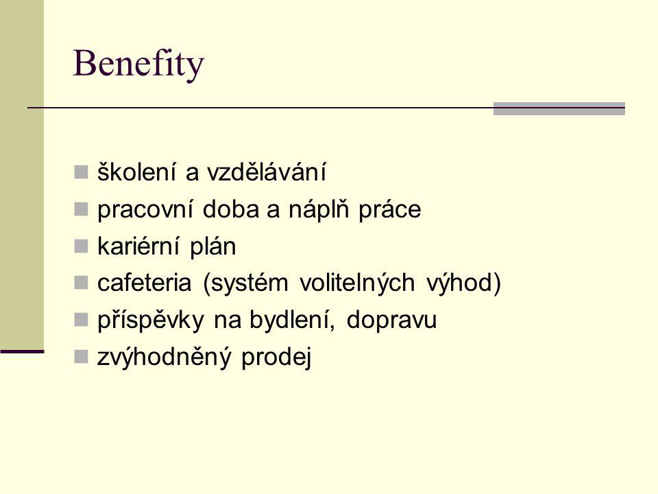 Benefity školení a vzdělávání pracovní doba a náplň práce kariérní plán cafeteria (systém volitelných výhod) příspěvky na bydlení, dopravu zvýhodněný prodej