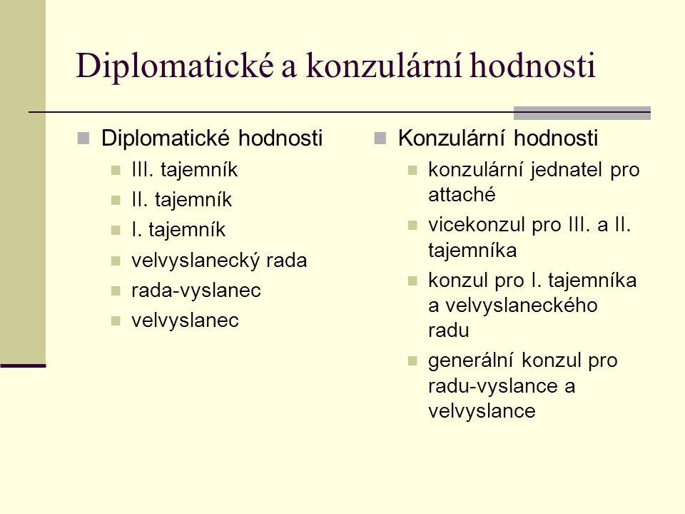 Diplomatické a konzulární hodnosti Diplomatické hodnosti III.