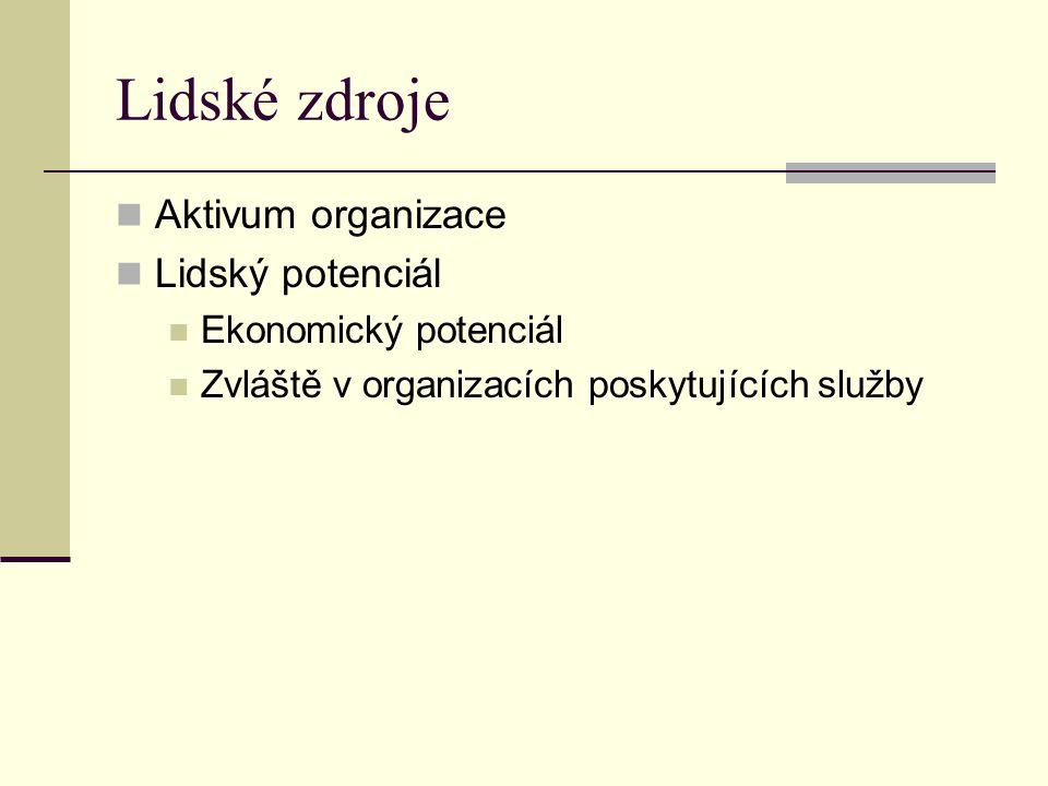 Lidské zdroje Aktivum organizace Lidský potenciál Ekonomický potenciál Zvláště v organizacích poskytujících služby
