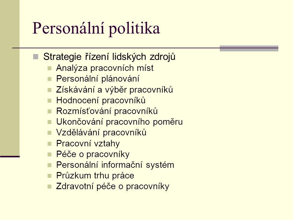 Personální politika Strategie řízení lidských zdrojů Analýza pracovních míst Personální plánování Získávání a výběr pracovníků Hodnocení pracovníků Rozmísťování pracovníků Ukončování pracovního poměru Vzdělávání pracovníků Pracovní vztahy Péče o pracovníky Personální informační systém Průzkum trhu práce Zdravotní péče o pracovníky