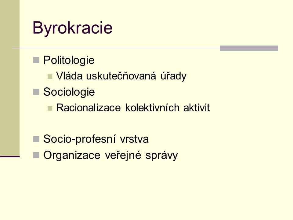 Byrokracie Politologie Vláda uskutečňovaná úřady Sociologie Racionalizace kolektivních aktivit Socio-profesní vrstva Organizace veřejné správy