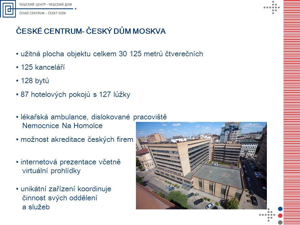 ČESKÉ CENTRUM- ČESKÝ DŮM MOSKVA užitná plocha objektu celkem 30 125 metrů čtverečních 125 kanceláří 128 bytů 87 hotelových pokojů s 127 lůžky lékařská