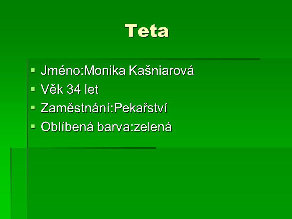 Teta Teta  Jméno:Monika Kašniarová  Věk 34 let  Zaměstnání:Pekařství  Oblíbená barva:zelená