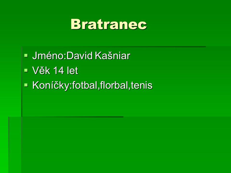 Bratranec  Jméno:David Kašniar  Věk 14 let  Koníčky:fotbal,florbal,tenis