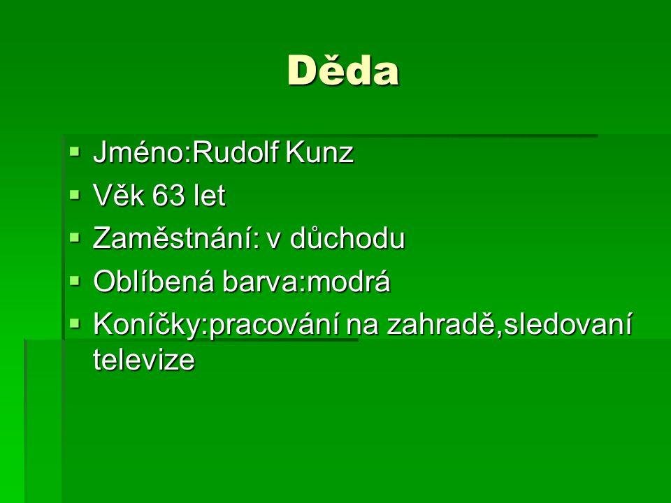 Děda  Jméno:Rudolf Kunz  Věk 63 let  Zaměstnání: v důchodu  Oblíbená barva:modrá  Koníčky:pracování na zahradě,sledovaní televize