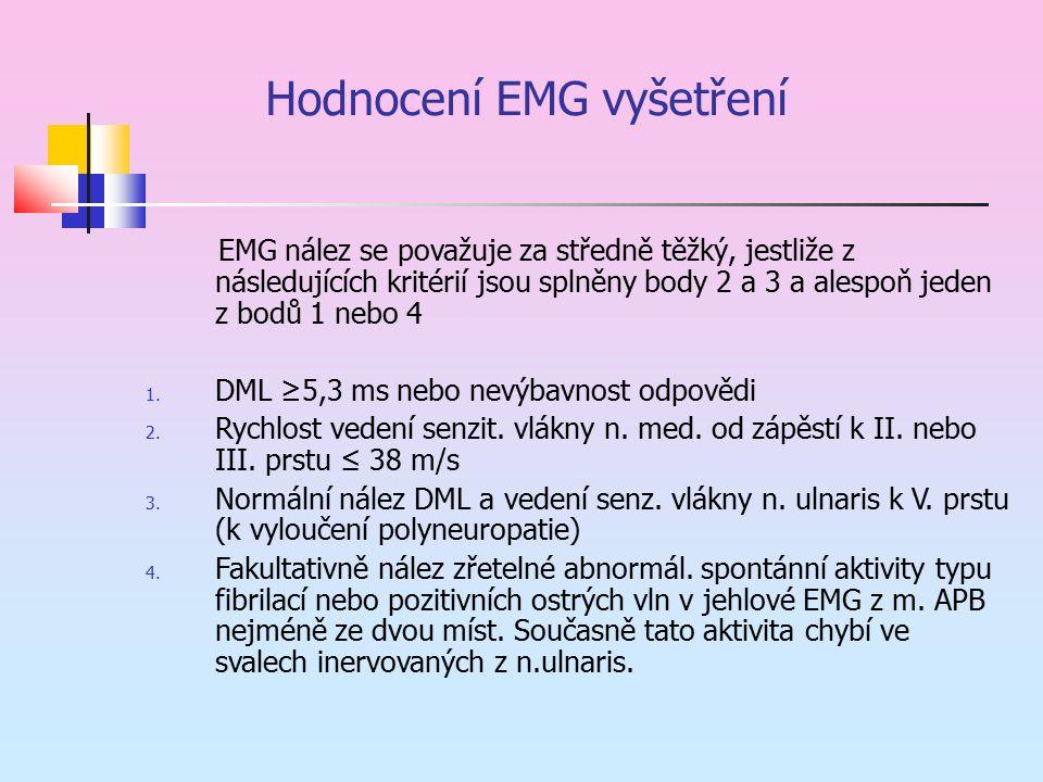 Hodnocení EMG vyšetření EMG nález se považuje za středně těžký, jestliže z následujících kritérií jsou splněny body 2 a 3 a alespoň jeden z bodů 1 neb