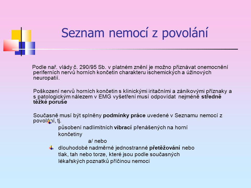 Seznam nemocí z povolání Podle nař. vlády č. 290/95 Sb. v platném znění je možno přiznávat onemocnění periferních nervů horních končetin charakteru is