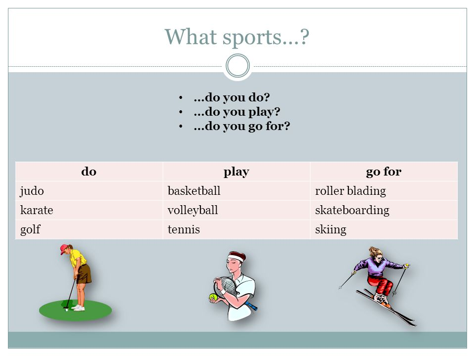 What sports…? doplaygo for judobasketballroller blading karatevolleyballskateboarding golftennisskiing …do you do? …do you play? …do you go for?