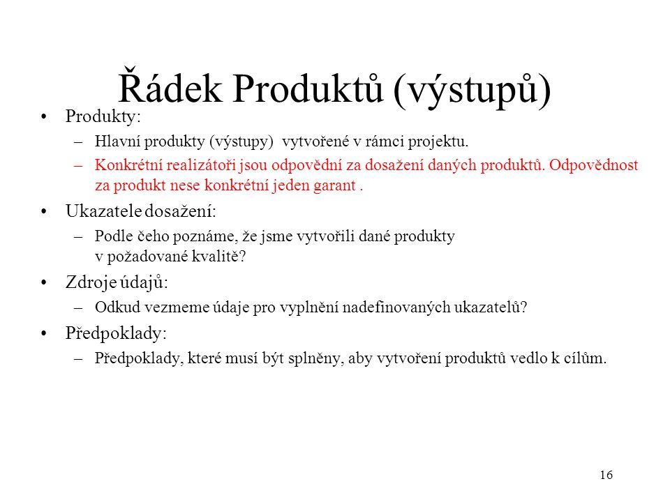 16 Řádek Produktů (výstupů) Produkty: –Hlavní produkty (výstupy) vytvořené v rámci projektu. –Konkrétní realizátoři jsou odpovědní za dosažení daných