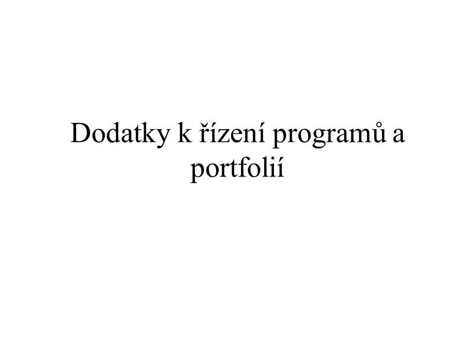 Dodatky k řízení programů a portfolií