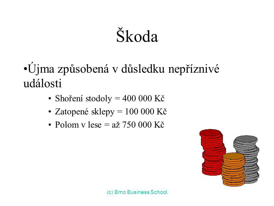 Škoda Újma způsobená v důsledku nepříznivé události Shoření stodoly = 400 000 Kč Zatopené sklepy = 100 000 Kč Polom v lese = až 750 000 Kč (c) Brno Business School