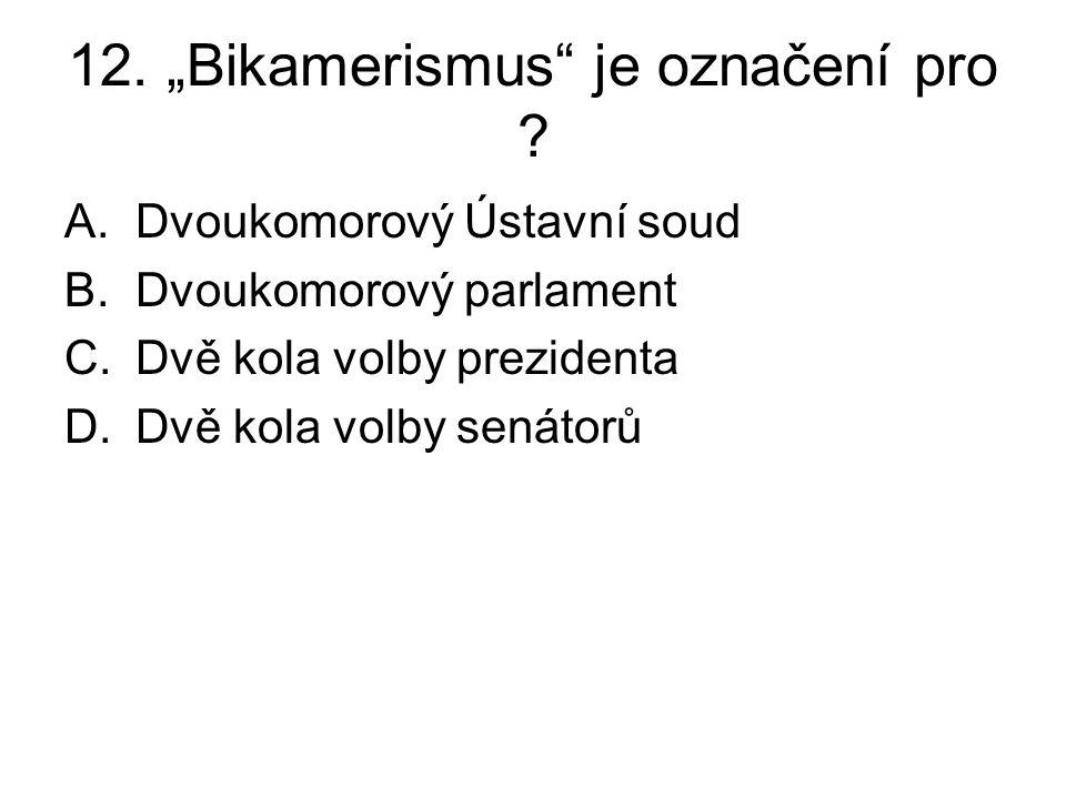 """12. """"Bikamerismus"""" je označení pro ? A.Dvoukomorový Ústavní soud B.Dvoukomorový parlament C.Dvě kola volby prezidenta D.Dvě kola volby senátorů"""