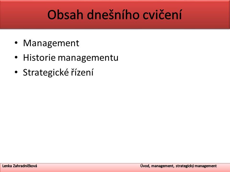 Management Historie managementu Strategické řízení