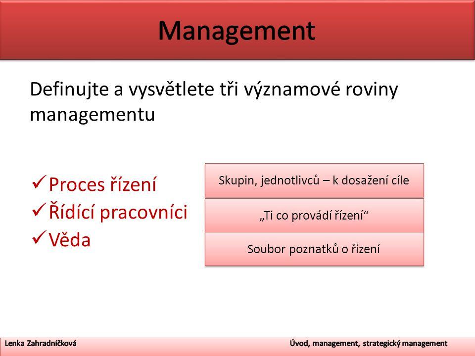 """Definujte a vysvětlete tři významové roviny managementu Proces řízení Řídící pracovníci Věda Skupin, jednotlivců – k dosažení cíle """"Ti co provádí říze"""