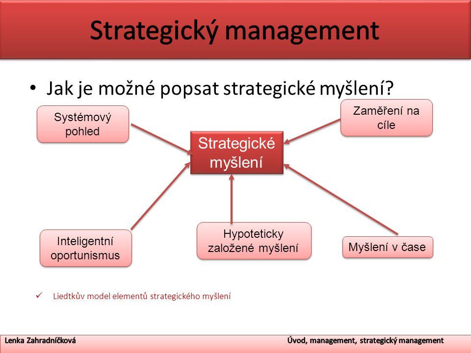 Jak je možné popsat strategické myšlení? Liedtkův model elementů strategického myšlení Strategické myšlení Hypoteticky založené myšlení Zaměření na cí