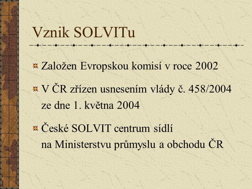 Struktura systému SOLVIT Síť SOLVIT center po celé EU a v EHP v rámci orgánů státní správy V současnosti existuje 30 SOLVIT center propojených virtuální databází Na systém dohlíží Evropská komise