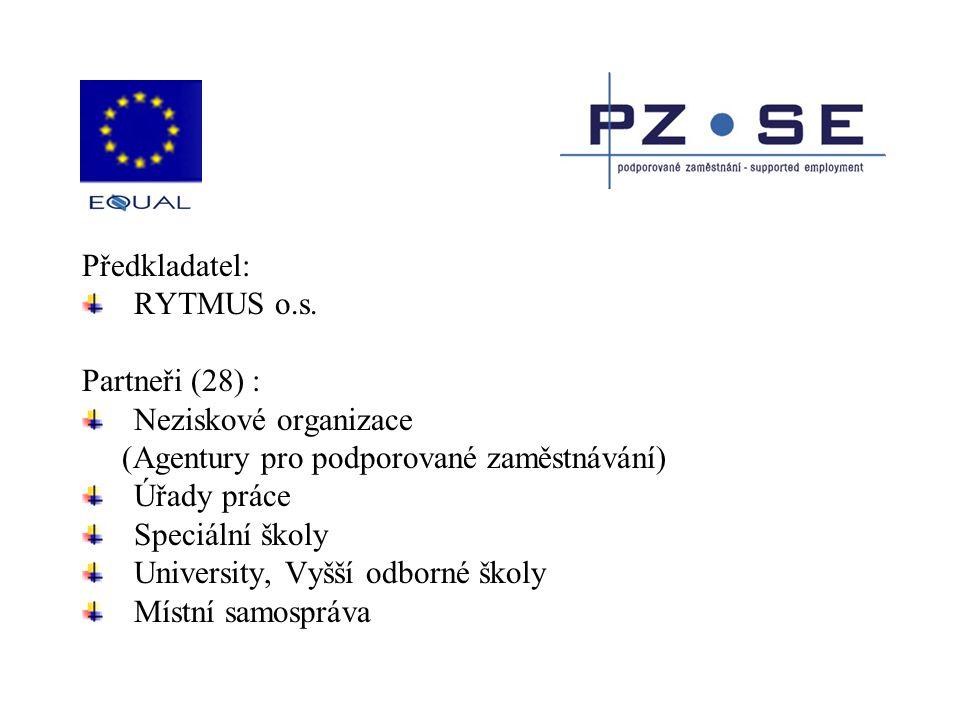 Předkladatel: RYTMUS o.s. Partneři (28) : Neziskové organizace (Agentury pro podporované zaměstnávání) Úřady práce Speciální školy University, Vyšší o