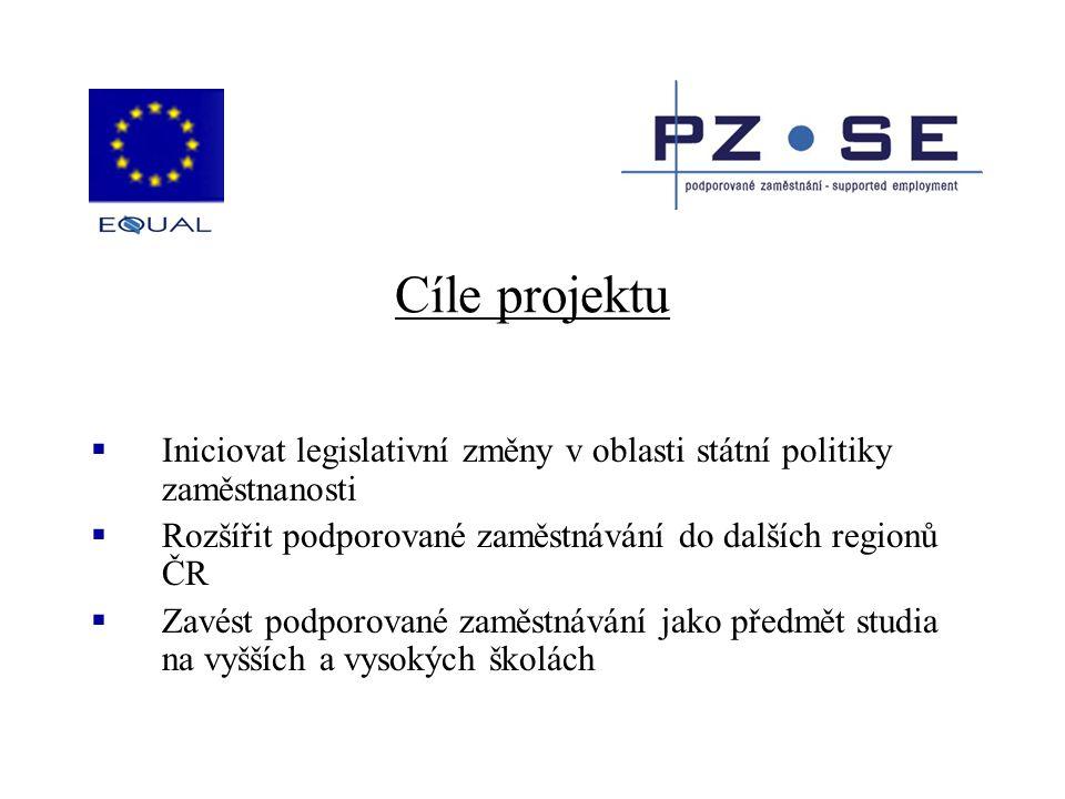 Cíle projektu  Iniciovat legislativní změny v oblasti státní politiky zaměstnanosti  Rozšířit podporované zaměstnávání do dalších regionů ČR  Zavés