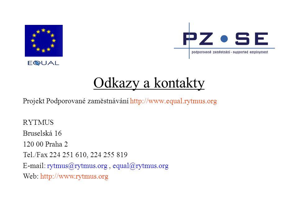 Odkazy a kontakty Projekt Podporované zaměstnávání http://www.equal.rytmus.org RYTMUS Bruselská 16 120 00 Praha 2 Tel./Fax 224 251 610, 224 255 819 E-