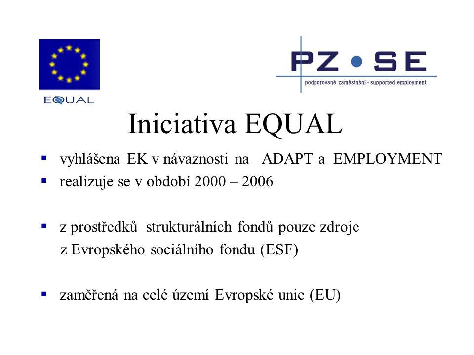 Iniciativa EQUAL  vyhlášena EK v návaznosti na ADAPT a EMPLOYMENT  realizuje se v období 2000 – 2006  z prostředků strukturálních fondů pouze zdroj