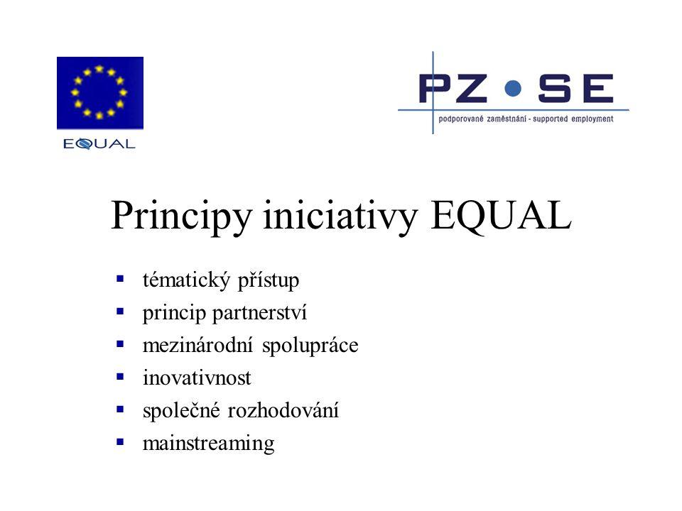 Principy iniciativy EQUAL  tématický přístup  princip partnerství  mezinárodní spolupráce  inovativnost  společné rozhodování  mainstreaming