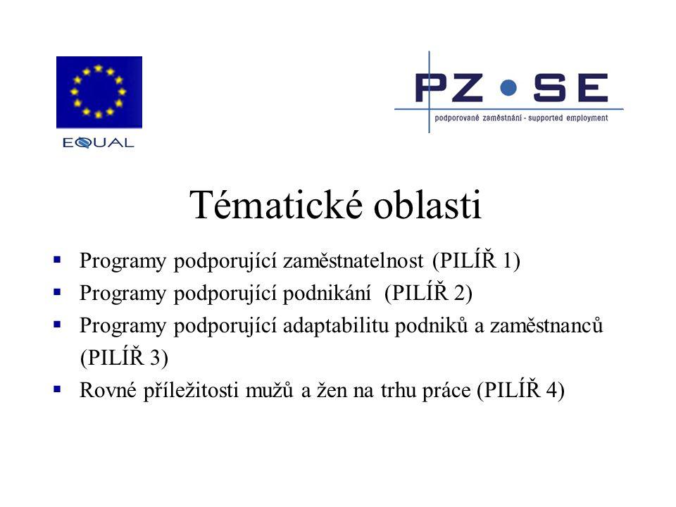 Tématické oblasti  Programy podporující zaměstnatelnost (PILÍŘ 1)  Programy podporující podnikání (PILÍŘ 2)  Programy podporující adaptabilitu podn