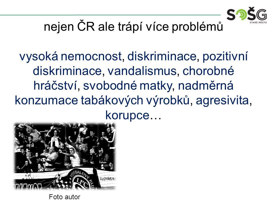 nejen ČR ale trápí více problémů vysoká nemocnost, diskriminace, pozitivní diskriminace, vandalismus, chorobné hráčství, svobodné matky, nadměrná konz