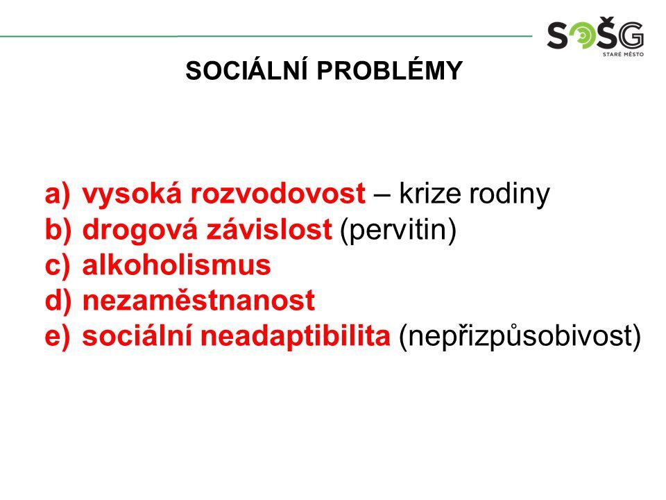 SOCIÁLNÍ PROBLÉMY a)vysoká rozvodovost – krize rodiny b)drogová závislost (pervitin) c)alkoholismus d)nezaměstnanost e)sociální neadaptibilita (nepřizpůsobivost)