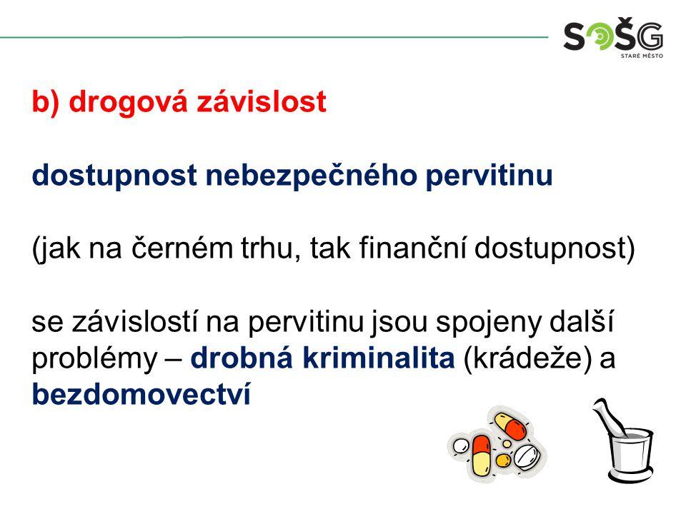 b) drogová závislost dostupnost nebezpečného pervitinu (jak na černém trhu, tak finanční dostupnost) se závislostí na pervitinu jsou spojeny další problémy – drobná kriminalita (krádeže) a bezdomovectví