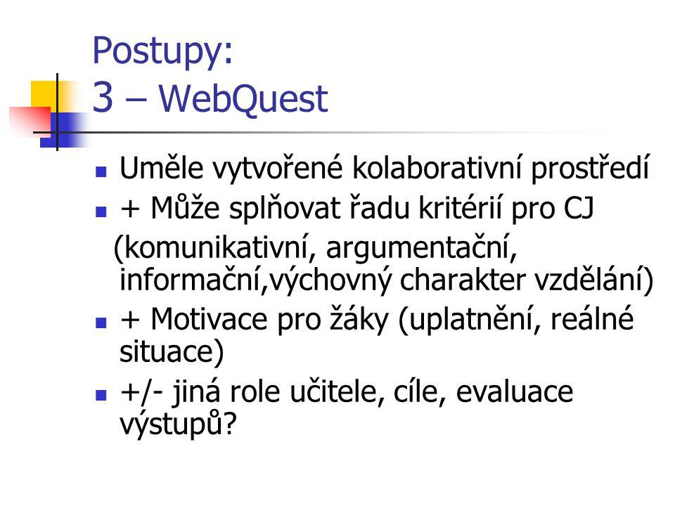 Postupy: 3 – WebQuest Uměle vytvořené kolaborativní prostředí + Může splňovat řadu kritérií pro CJ (komunikativní, argumentační, informační,výchovný charakter vzdělání) + Motivace pro žáky (uplatnění, reálné situace) +/- jiná role učitele, cíle, evaluace výstupů?