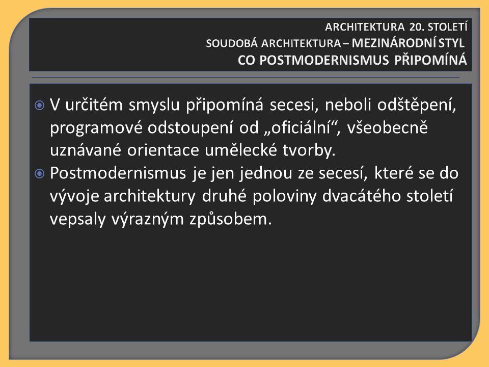  Vznik a vývoj postmodernismu však nebyl podmíněn jen kritikou poválečné zprůmyslněné výstavby, přejímající často v pokleslé formě estetické  normy funkcionalismu.