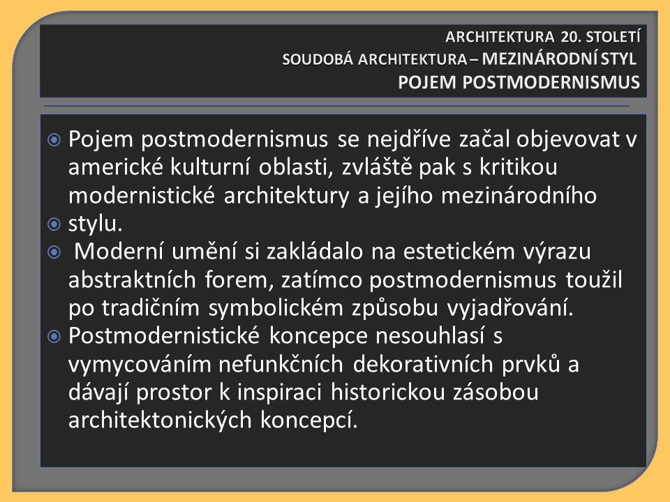  Pojem postmodernismus se nejdříve začal objevovat v americké kulturní oblasti, zvláště pak s kritikou modernistické architektury a jejího mezinárodního  stylu.