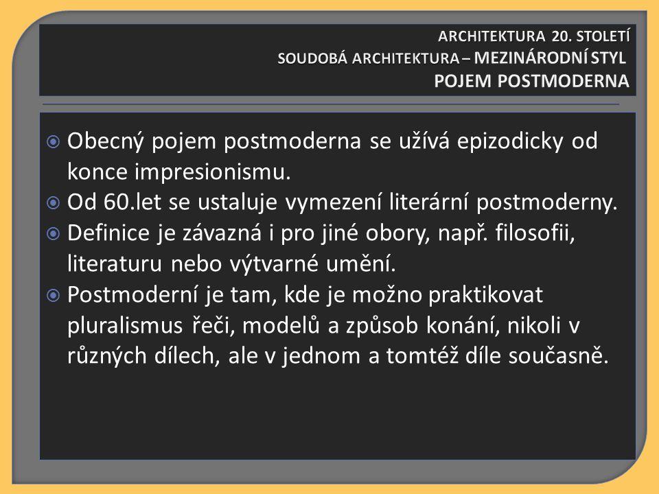 SAMOSTATNÝ ÚKOL Vyjmenujte nejvýznamnější tvůrce postmoderny U každého napište alespoň jedno jeho dílo Toto dílo charakterizujte ARCHITEKTURA 20.
