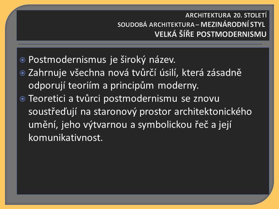  Postmodernismus je široký název.