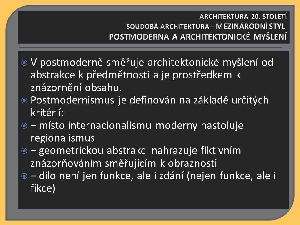  V postmoderně směřuje architektonické myšlení od abstrakce k předmětnosti a je prostředkem k znázornění obsahu.