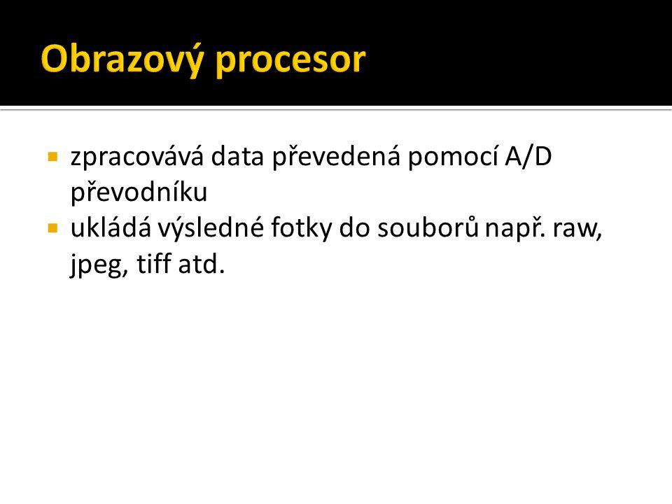  zpracovává data převedená pomocí A/D převodníku  ukládá výsledné fotky do souborů např. raw, jpeg, tiff atd.