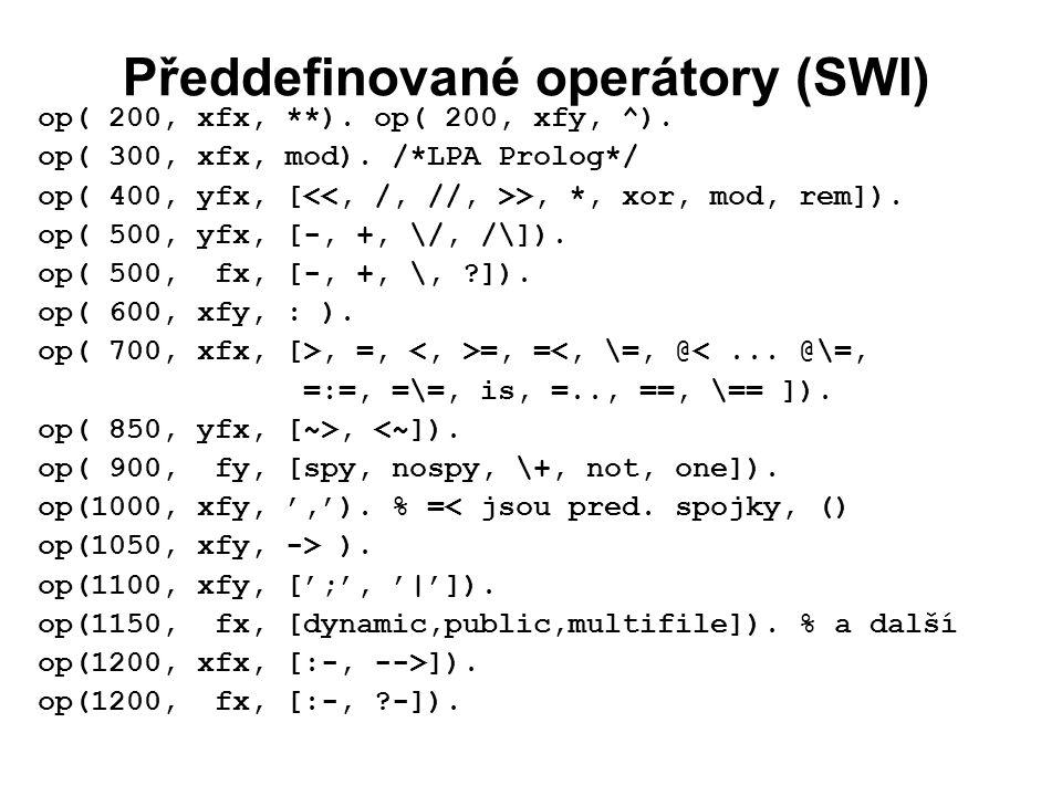 Předdefinované operátory (SWI) op( 200, xfx, **). op( 200, xfy, ^).