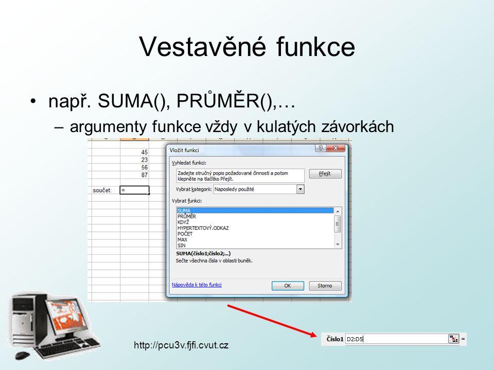 http://pcu3v.fjfi.cvut.cz Vestavěné funkce např. SUMA(), PRŮMĚR(),… –argumenty funkce vždy v kulatých závorkách